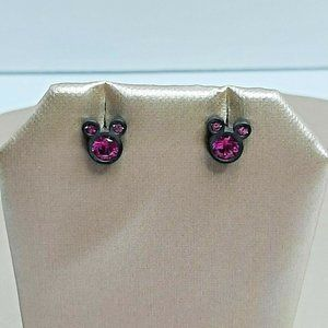 Presentski Minnie Mouse Stud Earrings Pink Cubic